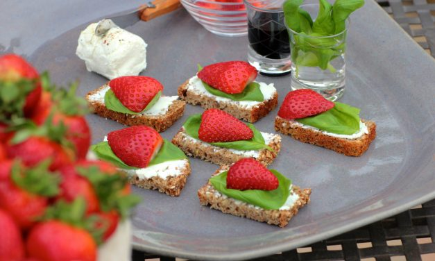 Bruschetta, Chevin and Strawberry Canapés