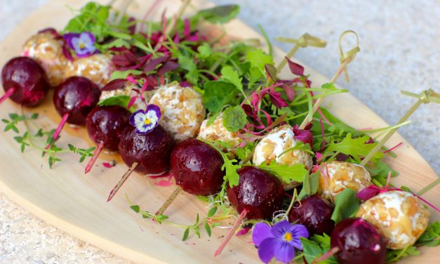 Beetroot, Chevin & Walnut Skewers